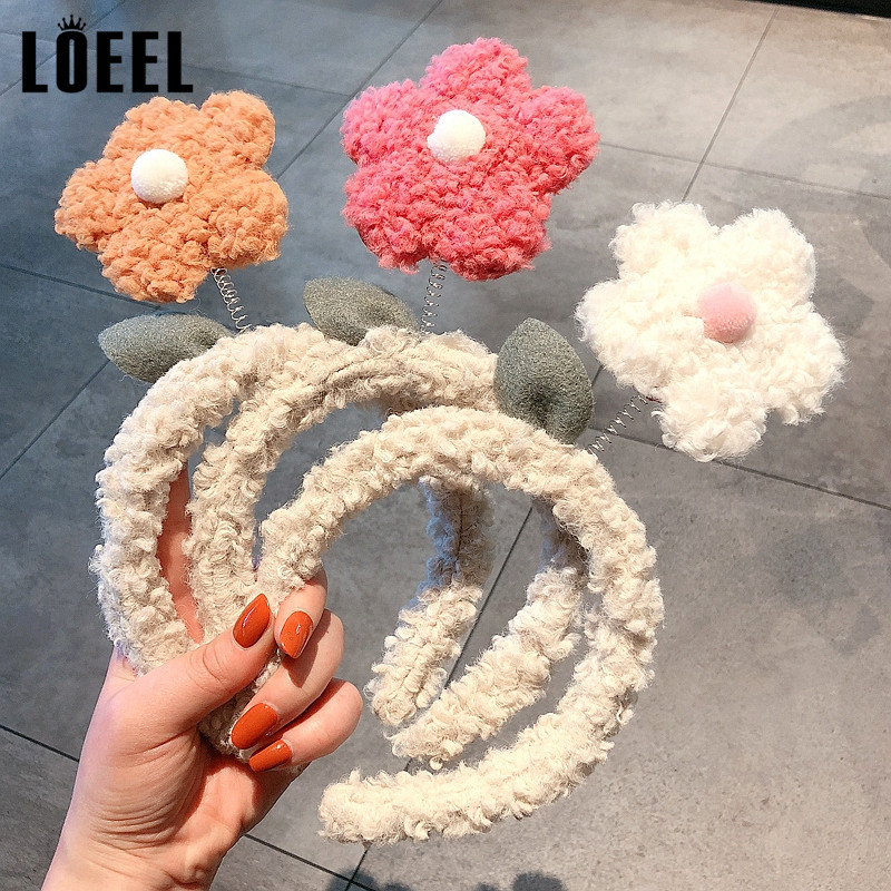 New Fashion Flower Headbands For Women Hair Accessories Spring Floral Washing Non-slip Head Hoop Lamb Plush Hairbands Female