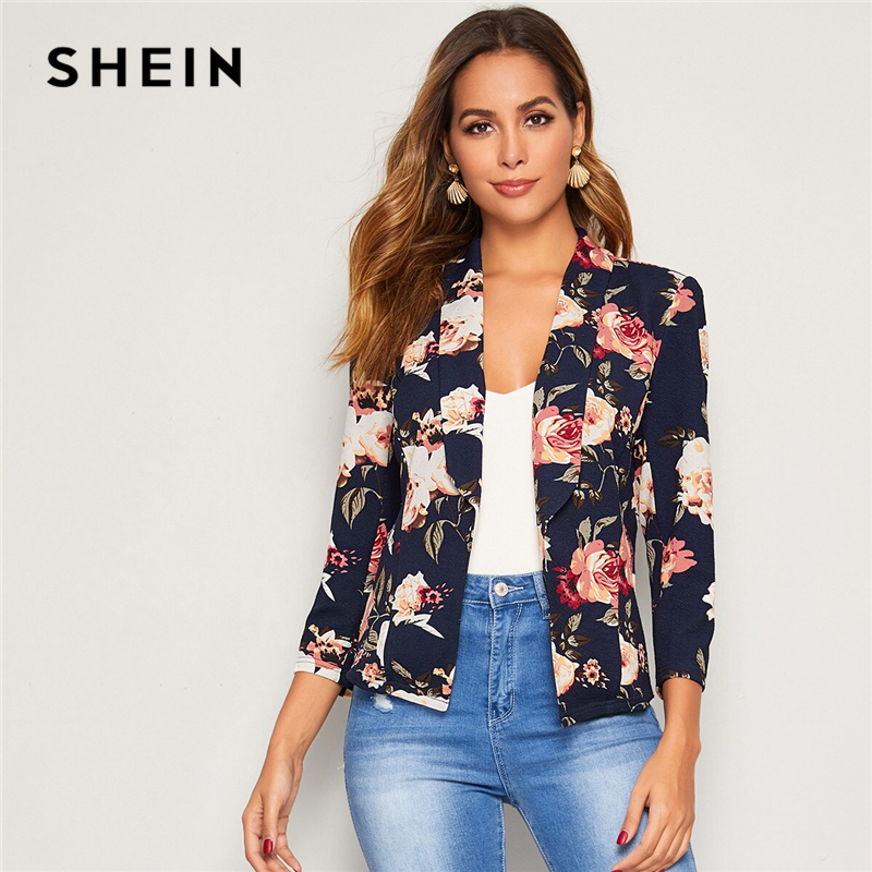 SHEIN Floral Print Shawl Collar Slim Fitted Blazer Women Spring Autumn Office Ladies Long Sleeve Elegant Coat Outwear Blazers