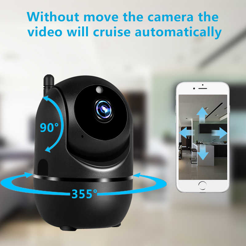 Zwarte Smart Home Security Surveillance 1080P Cloud Ip Camera Auto Tracking Netwerk Wifi Camera Draadloze Cctv YCC365