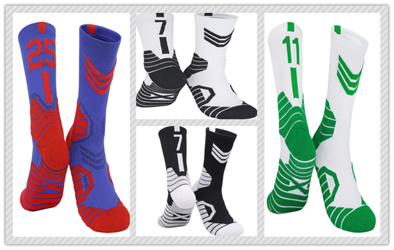 3Pairs Basketball Player Thick Sport Crew Towel Socks Digital Adult Number The Eastern Non-slip Comfortable Cycling Breathable