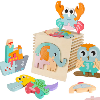 Bright Color 3D Animal Wooden Puzzles For Kids Cognitive Montessori Wooden Toys Baby Jagsaw Puzzles Early Educational Toy Baby bright baby blankies