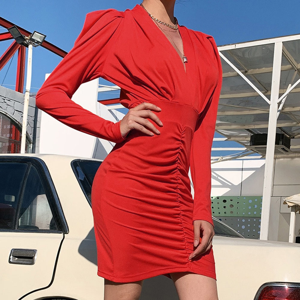 Red V Neck   Cocktail     Dress   Long Sleeves Sheath Short Mini Ruffles Women Night Club Evening Party Gowns   Cocktail     Dresses