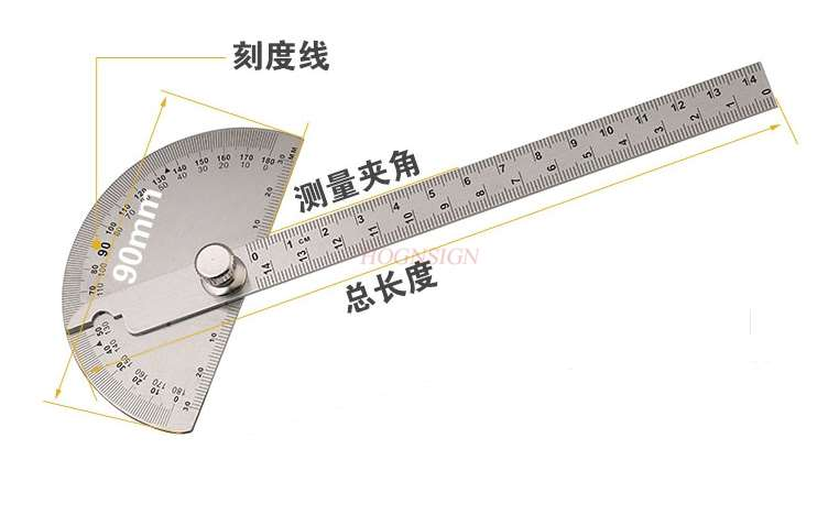 Angle Ruler Stainless Steel Measuring Angle Large Protractor Woodworking Protractor Stainless Angle Ruler Angle Ruler|Rulers| |  - title=