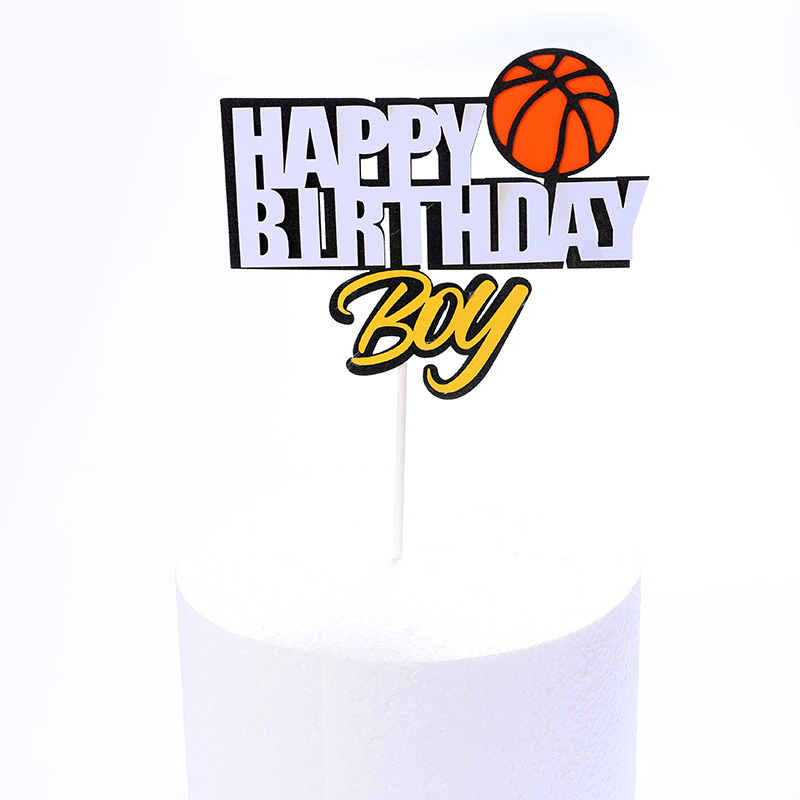 Cake Toppers Glitter DIY Basketball Football Set Cupcake Topper Cake Flags Kids Boys Birthday Wedding Bride Party Baking Decor-5