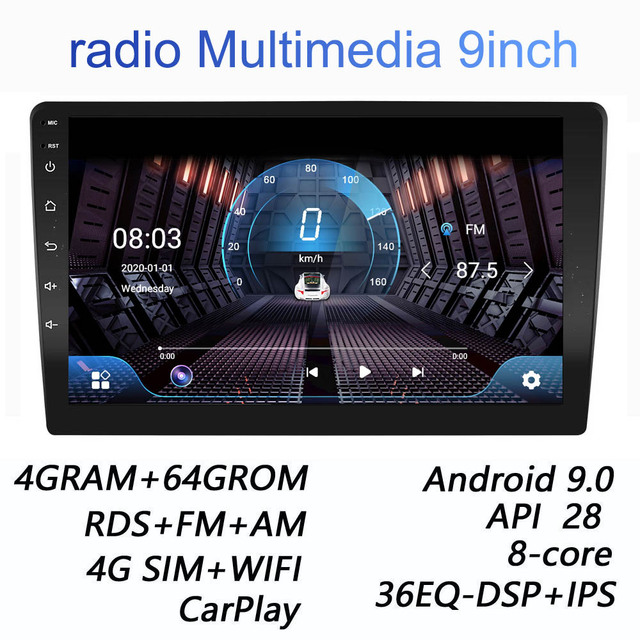 Dla Nissan Kia Honda VW 2 Din Android 9.0 4G + 64G 4G netto 9 cal radio samochodowe multimedialny odtwarzacz wideo 2Din nawigacja GPS FM carplay