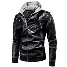 Coat Motor Jackets Men Outwear Punk-Hat Autumn Winter Brown Black Patchwork Hooded
