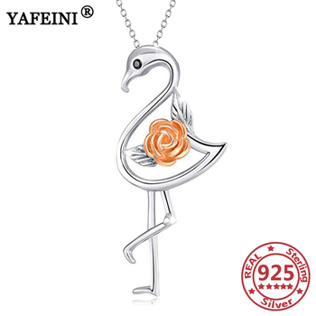YFN 925 Sterling Silver Rose Flamingos Necklace 925 Silver Chains Women's Jewelry Mom's Gifts Graduation Gifts Pendant Necklaces фото