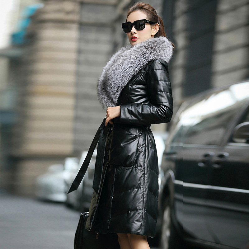 Genuine Leather Jacket Women Real Sheepskin Leather Duck Down Coat Autumn Winter Warm Thick Slim OT6674 MF558
