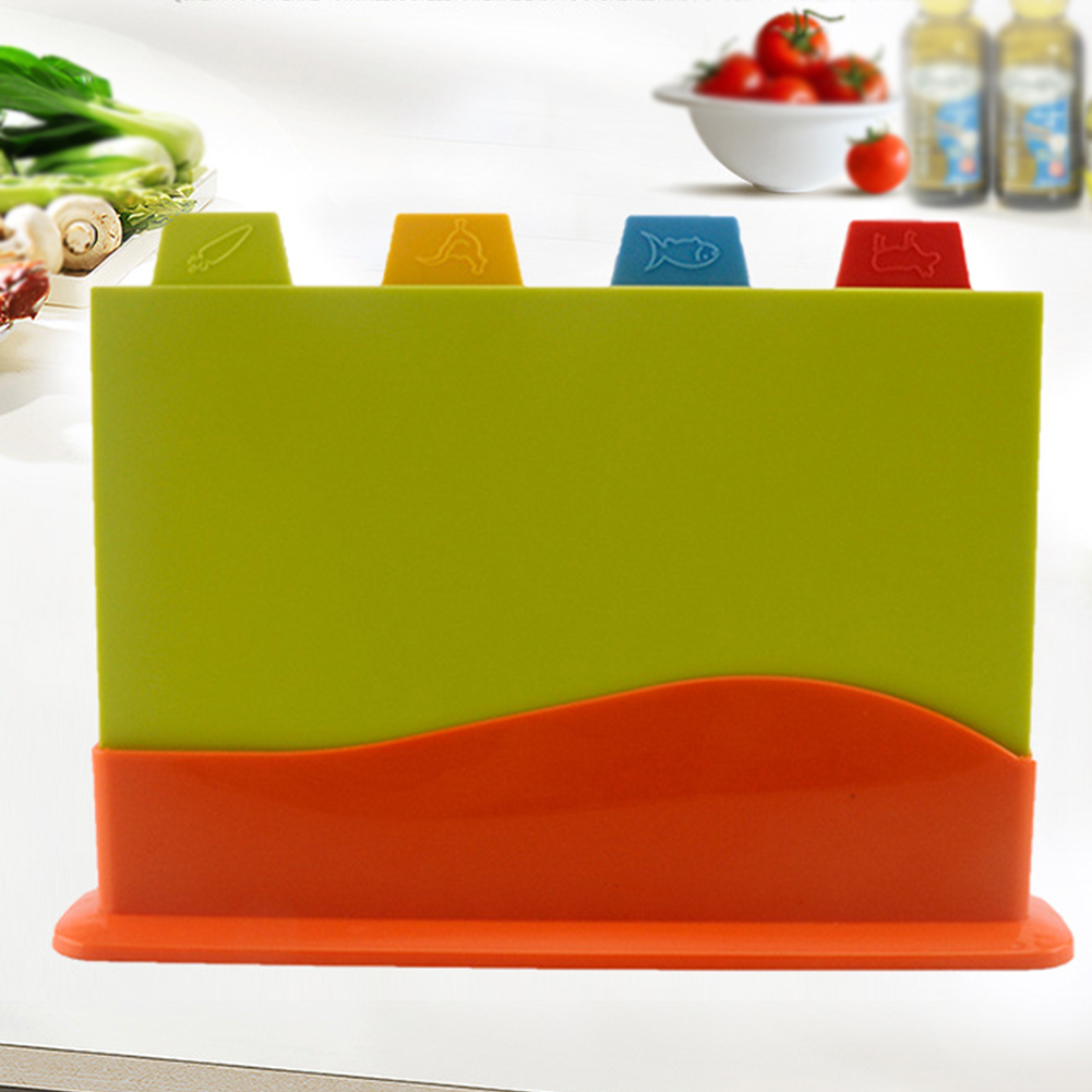 Stand Chopping-Board-Set Vegetables-Cutting Multifunction Kitchen 4pcs With Separately-Block