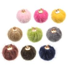 Pompom Ball Bead Charms Pendant For Necklace Bracelet Jewelry Making DIY Earring Fingdings DIY Fluffy Ball for Tassel Earrings
