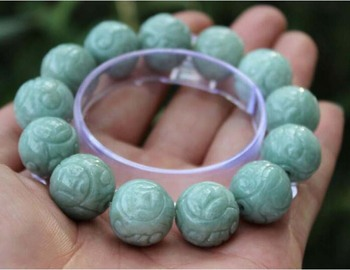 Natural Beautiful Certified Green Hand-Carved 13 Beads Gems Bracelet Bangle