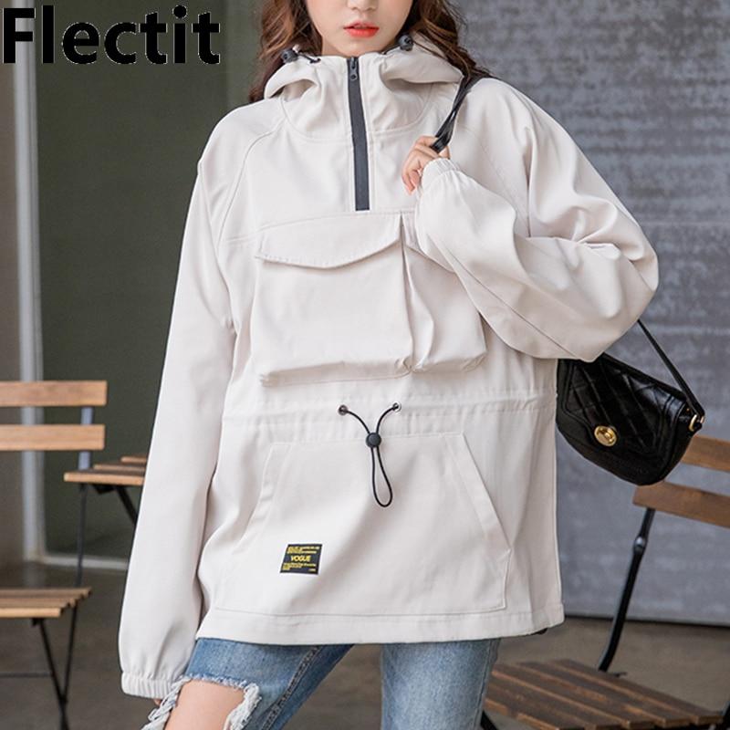Flectit Cute Hooded Windbreaker Jacket For Women Anorak Jacket Hoodie Coats Female Outdoor Clothing *