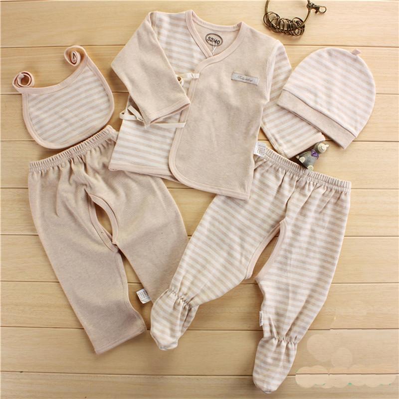 Baby Set Newborn 0-3 Months Clothes 5PCS Boy Girl Organic Colored Cotton Long Sleeve Tops+Hat+Pants +Bib Baby Girl Pajamas Sets