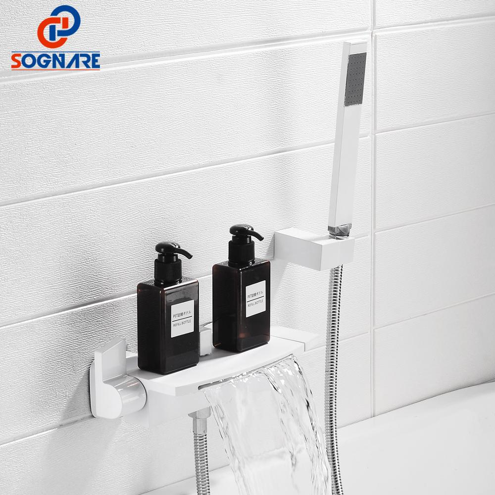 SOGNARE Bathroom Set White Bathtub Faucet Bath Shower Faucet Bathtub Tap Mixer Water In Wall Waterfall Faucet Concealed Tub Tap