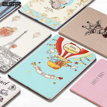 ESR Cartoon illustration Case Cover For Apple New iPad 9.7 2017 2018 Funda cases A1822 PU Leather Stand A1823/A1893/A1954(China)