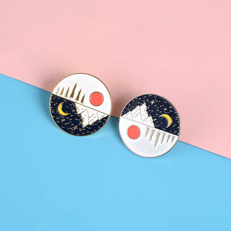 Piękne krajobrazy pin wschód słońca wschód księżyca horizon emalia pins broszki okrągły Odznaka wpinana w klapę worek na koszulę biżuteria prezent dla kobiet mężczyzn