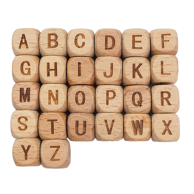 Chenkai 12mm 100 Uds cuadrado de madera del alfabeto cuentas A-Z Cuentas de letras para bebé masticables de cadena de chupete Accesorios