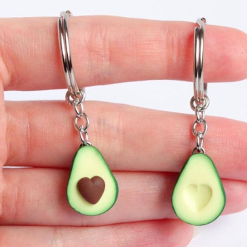 Couple Key Chain Your Heart In My Simulation Fruit Avocado Heart-shaped Keychain 3D Soft Avocado Keychain Fashion Gift