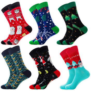 Elk, Happy Cat, Christmas Candy, Santa Claus, Snowman, Tree, Snowflake, Gift, Red Male Midstream socks ZQ026 - discount item  49% OFF Men's Socks