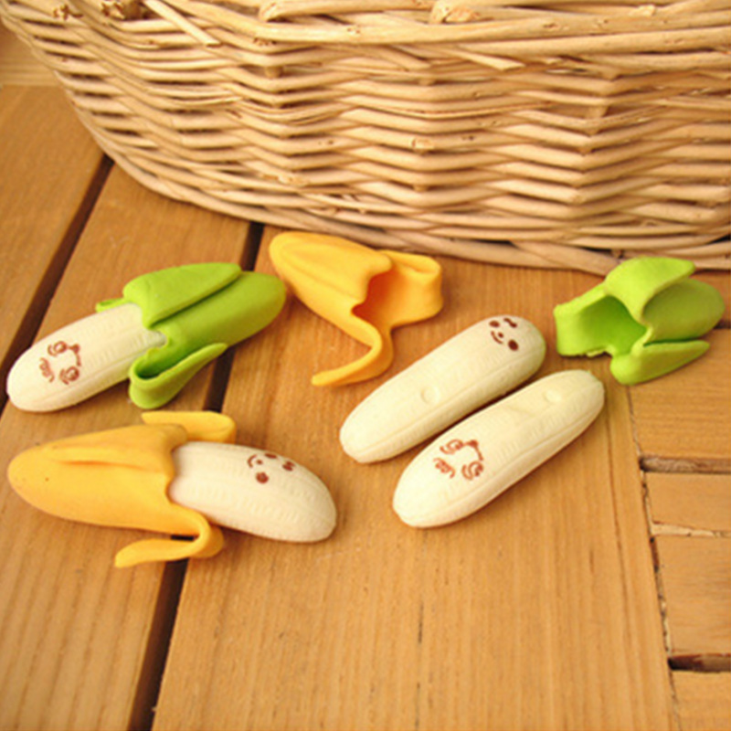 1 Pcs Creative Fashion Banana Fruit Shape Pencil Eraser Cartoon Cute School Supplies Erasers Kids Stationery Rubber Gift