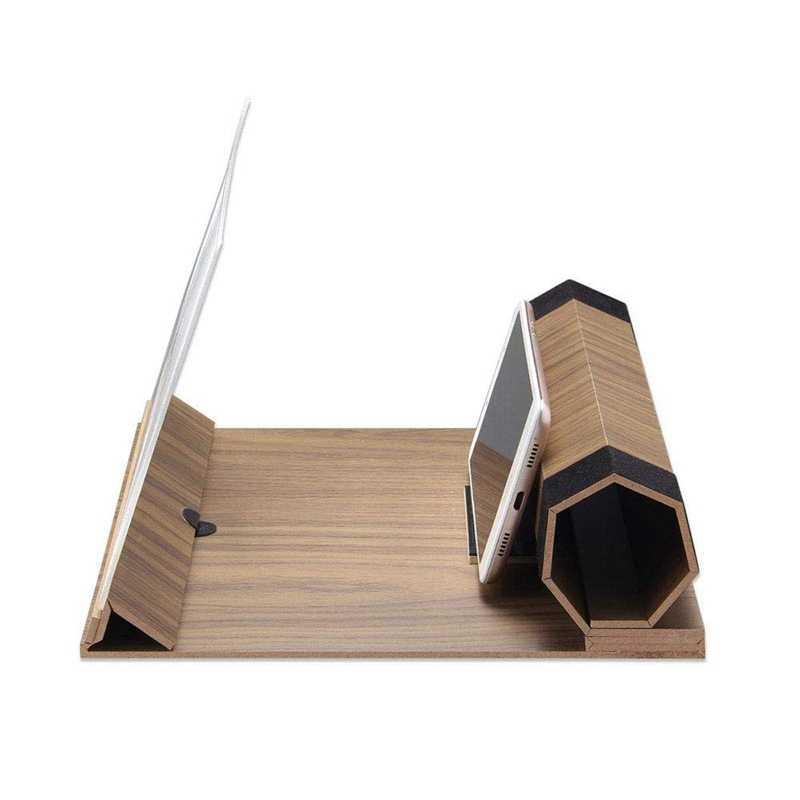 AABB-12 インチ Hd 画面拡大鏡、固体木目折りたたみ携帯電話の画面、映画を見てのための適切なすべてのビデオ Smartp