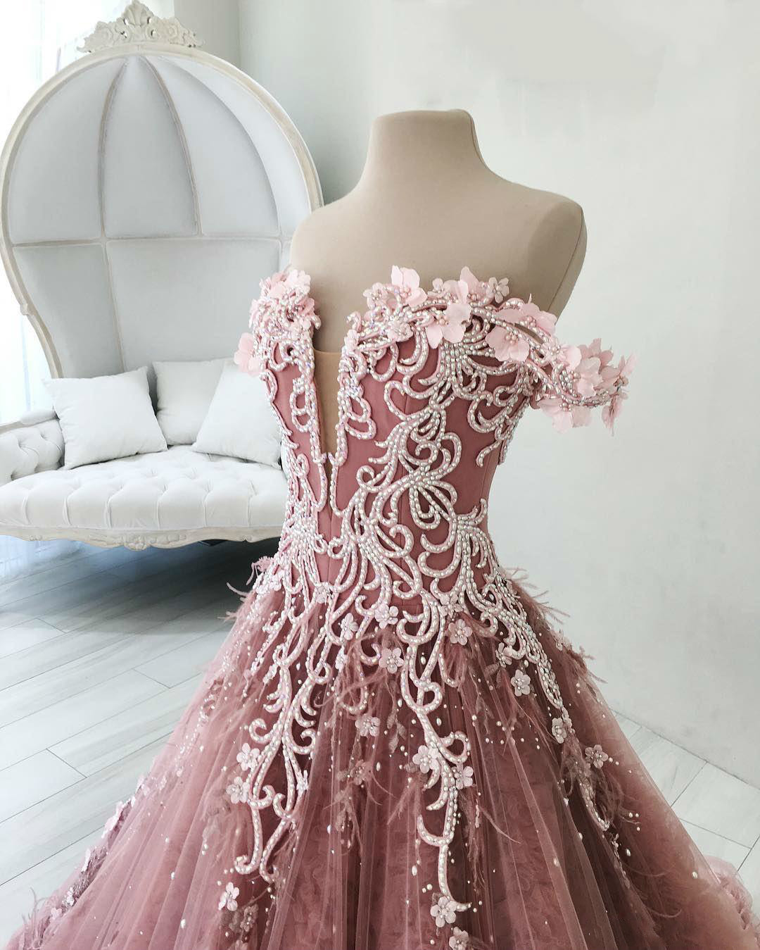 Image 4 - BGW 2241ht Butterfly Flowers Appliques Ball Gown Masquerade Quinceanera Dresses Off Shoulder Backless Floor Length Pageant GownsQuinceanera Dresses   -