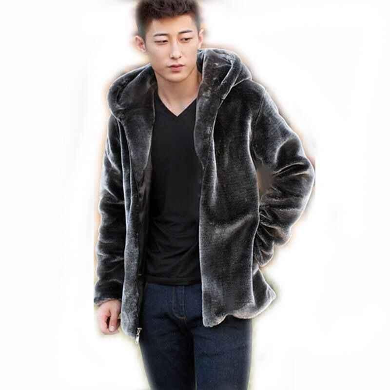 Herbst Winter Herren Faux Pelz Nerz Mantel Kurz Grau Mit Kapuze Mantel Plüsch Flauschigen Mantel Männlichen Plus Größe Xxxl 4xl 5xl warme Mantel Männer