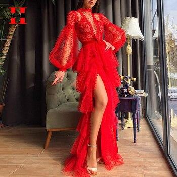 Sexy Mesh Perspective Long Dress Women High Waist Cascading Ruffle Nightclub Party Dresses Womans Side Slit Maxi