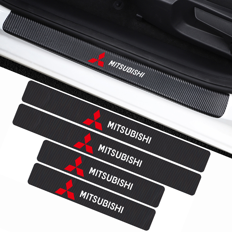 4PCS/Set Car Door Threshold Cover Stickers For Mitsubishi Lancer 10 3 9 EX Outlander 3 ASX L200 Competition Accessories