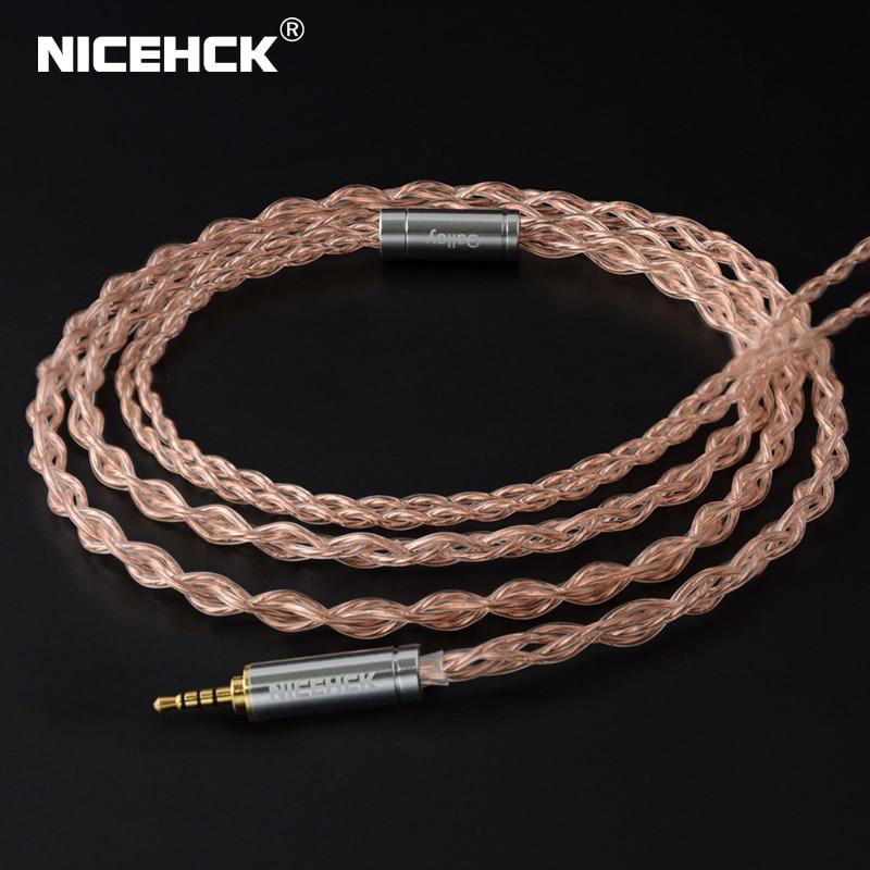 NICEHCK 6N UPOCC cuivre et alliage cuivre-argent câble mixte Litz 3.5/2.5/4.4 MMCX/0.78mm 2Pin/qdc2Pin pour ZSX C12 NX7/F3 qdcIEM