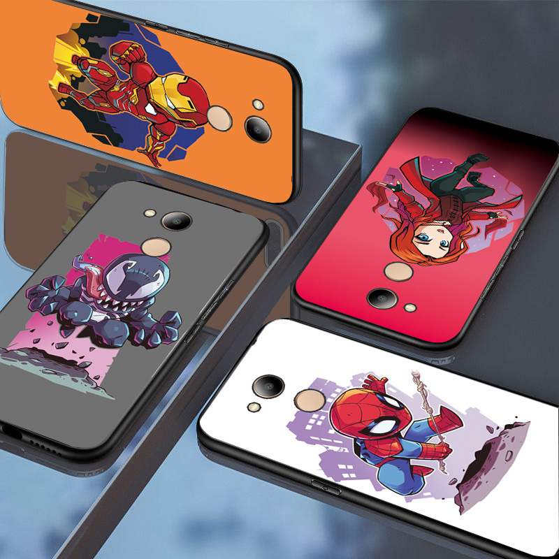 For Huawei Honor 6C 7A Pro Case Honor 7C 7CRU 7A 8C marvel spiderman Q Version Black TPU Cover For Huawei Honor 9 8 10 Lite Case
