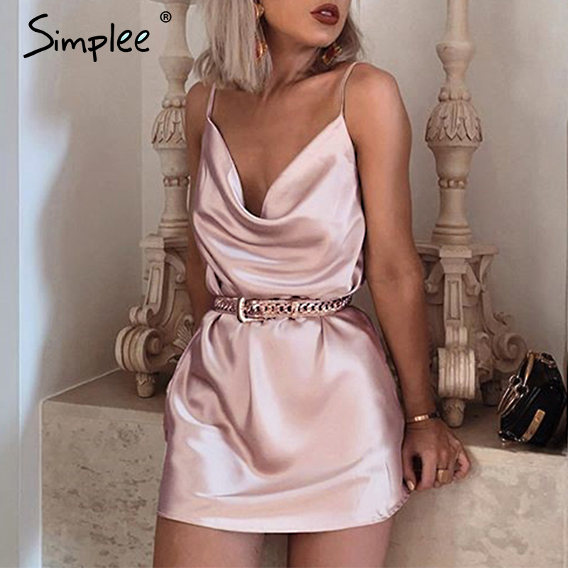 Simplee Sexy V-neck Spaghetti Strap Women Party Dress Club Night Solid Silk Female Short Sundress Summer Beach Ladies Mini Dress