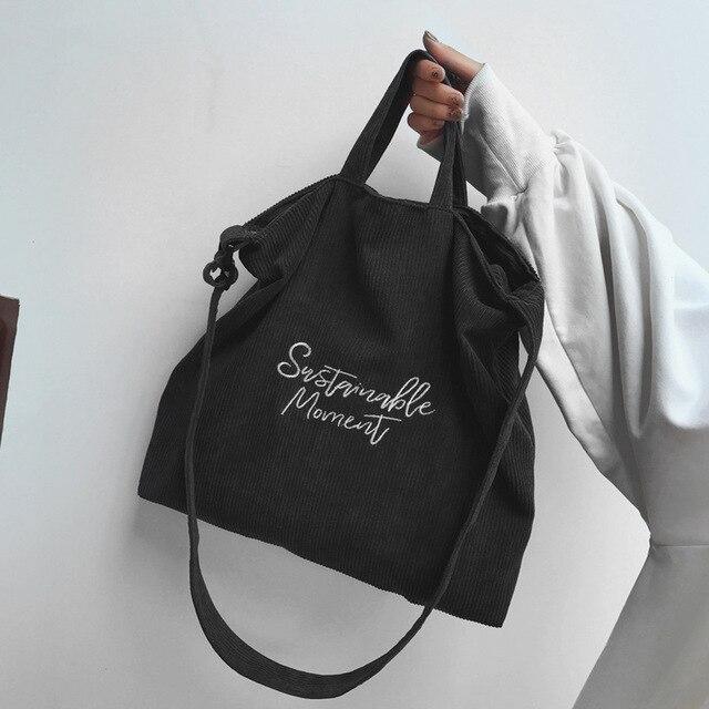 Women Corduroy Shoulder & Crossbody Bags Female Eco Cloth Handbag Large Capacity Zipper Totes Soft Embroidery Messenger Bag 4