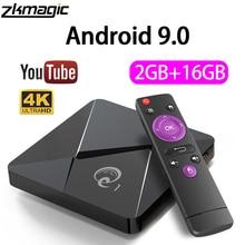 Zkmagic android 9.0 caixa de tv q1mini rockchip rk3328 2gb 16gb android caixa 2.4 wifi google play android caixa de tv