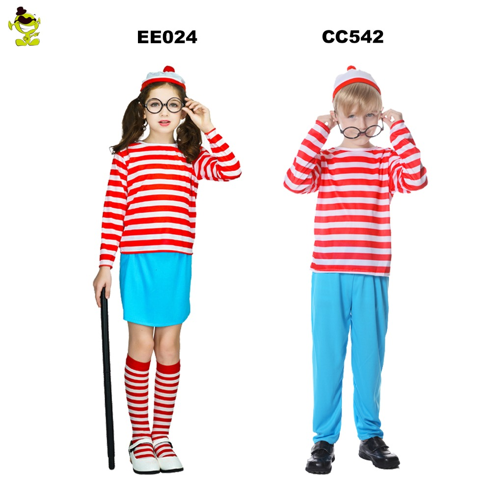 Where/'s Wally Stripes Book Red /& White Childs Kids Boys Fancy Dress Costume