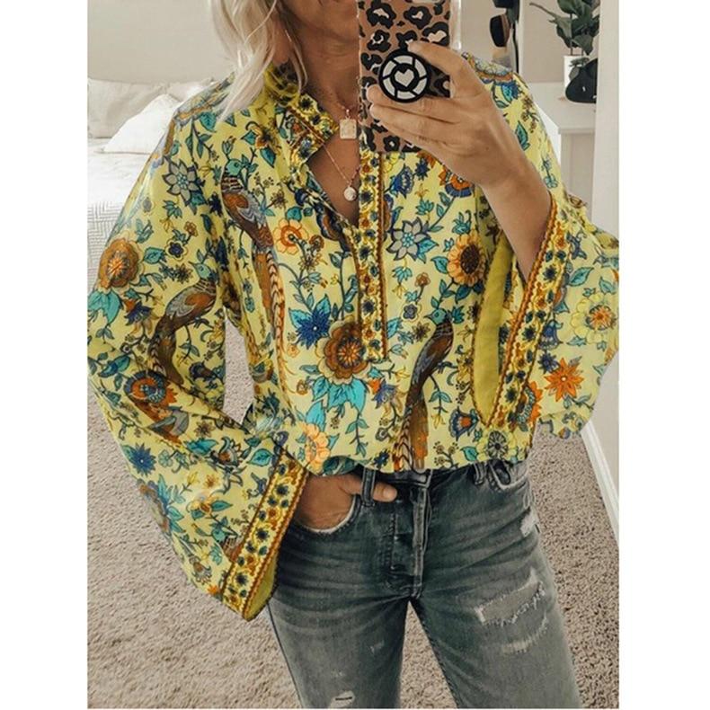 5XL Plus Size 2020 Spring New Women Fashion Long Sleeve Floral Printing Loose Chiffon Blouse Shirts Casual Tops Shirts Blusas