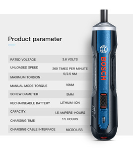 Image 4 - 보쉬 이동 미니 전기 스크루 드라이버 3.6V 리튬 이온 배터리 충전식 무선 전원 드릴 드릴 비트 키트 세트