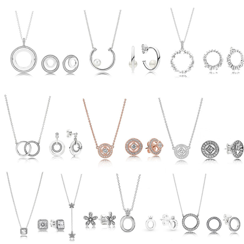 High Quality Original 925 Sterling Silver Necklace Earring Set With Original Engraved Woman Jewelry Gift Free Shipping