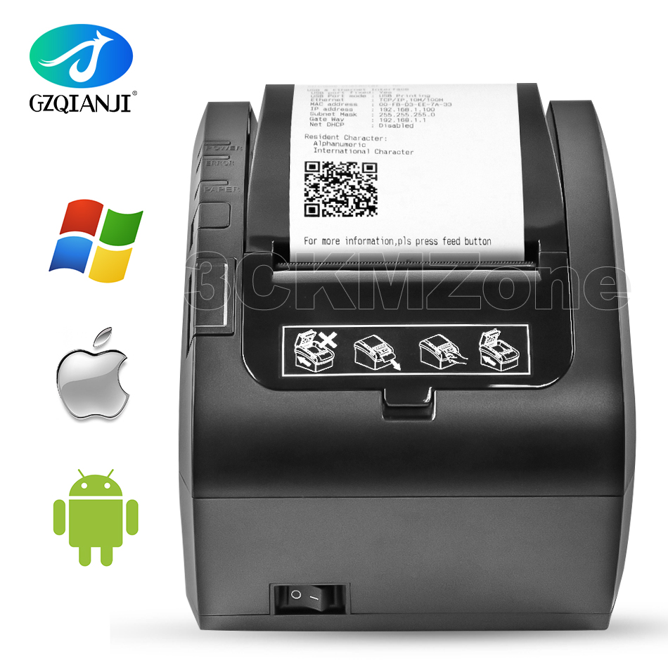 80mm Thermal Receipt Bill Printers Kitchen POS Printer With Automatic Cutter USB/Ethernet Ports Inkless Printer Shop Restaurant