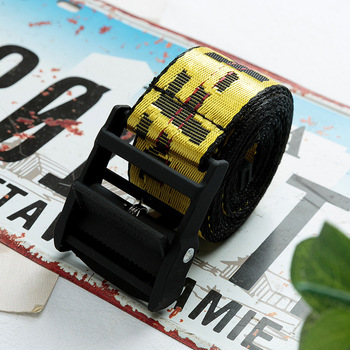Off White Belts Embroidery Canvas Letter 130-200cm Street Belt