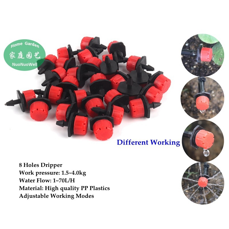 500~10pcs Adjustable Garden Drippers Micro Flow 8 Holes Drip Head Scattering Spray Sprinkler Flower Drip Irrigation Nozzles