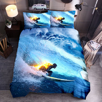 Extreme Sports Theme 3D Bedding Set Surfing Motorcycle Drifting Parachute Jumping Cross Country Cool Duvet Cover Pillowcase