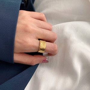 Image 2 - Silvology 925 スターリングシルバー不規則なワイドリングゴールド高品質箔紙ファッショナブルな女性シルバージュエリーギフト