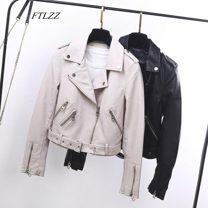 FTLZZ Faux Soft Leather Pu Motorcycle Basic Jackets Autumn Women Turndown Collar Zipper Biker Coats Female Outerwear With Belt