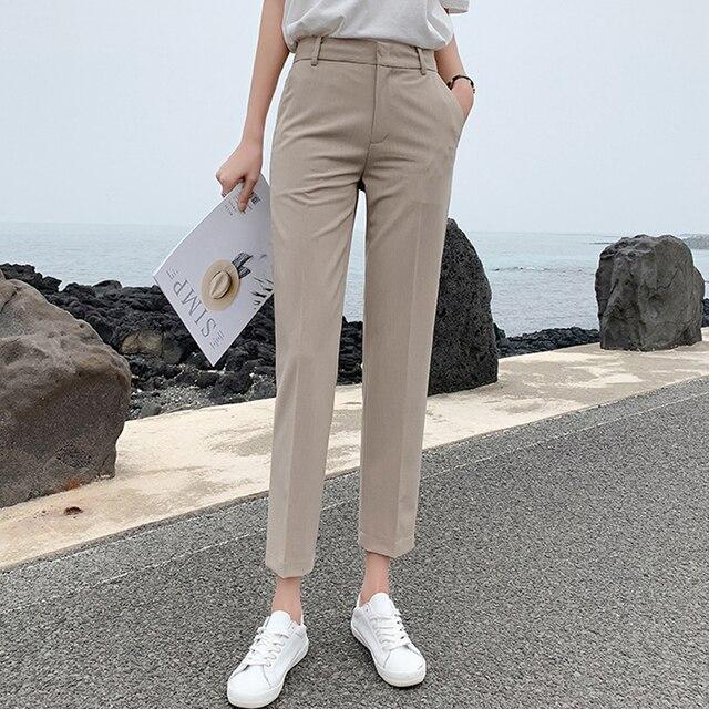 BGTEEVER OL Style Women Pants Plus Size Casual Pencil Pant High Waist Elegant Work Trousers Female Suit Pant pantalon femme 2019