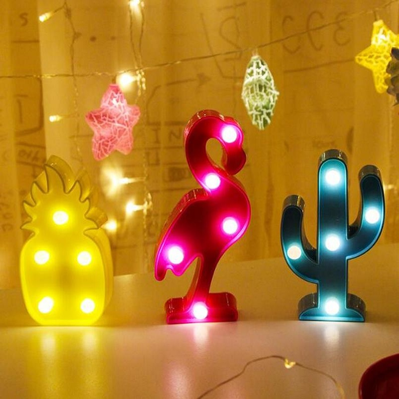 New Pineapple Night Lights Children LED Illuminated Flamingo Unicorn Pendant Lamp Light Cactus Star Wall Lighting
