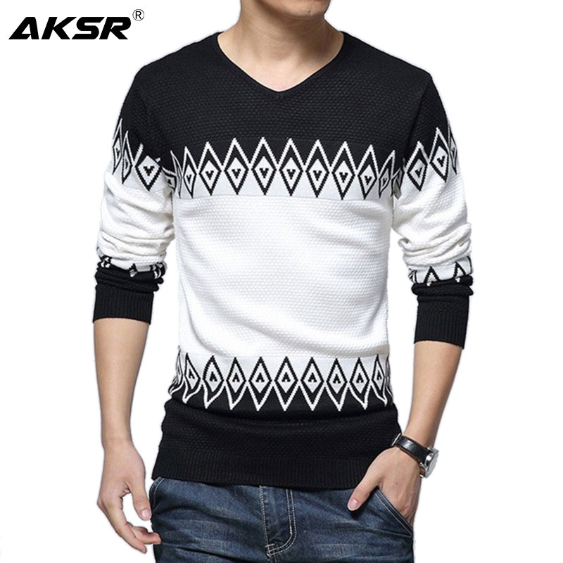 AKSR Men's Knitted Wool Sweater Cashmere Warm Winter Sweater V Neck Pullover Sweater Men Sueter Jersey Hombre Swetry Pull Homme