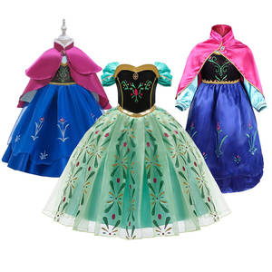 Princess Anna Dress for Girls Snow Queen 2 Cosplay Dresses Wig Kids Christmas Birthday