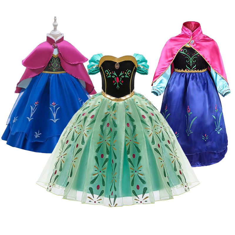 Princess Anna Dress For Girls Snow Queen 2 Cosplay Dresses Wig Kids Christmas Birthday Party Costume Baby Girl Clothes Accessory