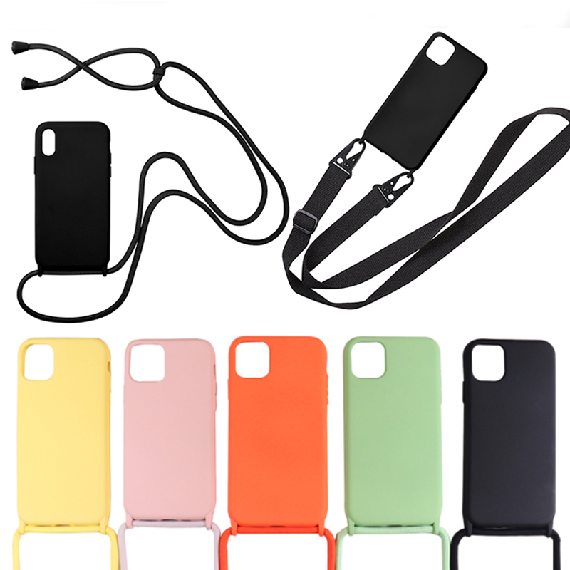 Crossbody Necklace Cell Phone Cases for iPhone 11 pro XS MAX XR 6 6s 7 8 Plus Lanyard Silicone Cover with neck Strap chain funda
